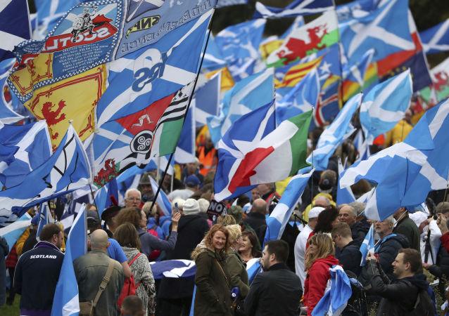 Marcha por la independencia de Escocia, foto de archivo
