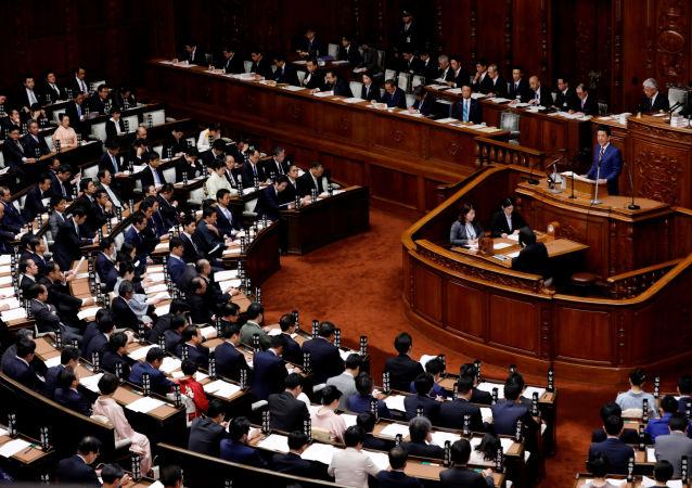 Shinzo Abe, el primer ministro de Japón, en una sesión del Parlamento japonés