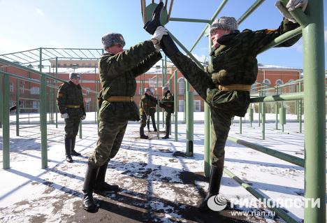 Regimiento del Kremlin: entrenamiento previo al Desfile de la Victoria