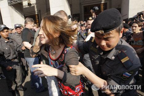 """Momentos de la  """"marcha de disidentes"""" en Moscú"""