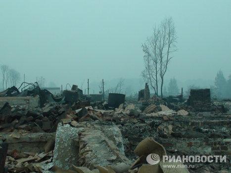 Aldea rusa Kriushi reducida a cenizas por los incendios forestales