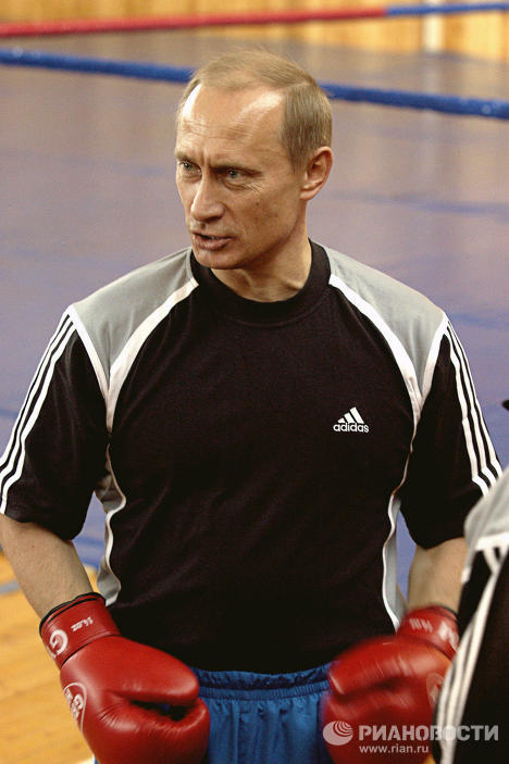 В.Путин на тренировочной базе сборной России по боксу