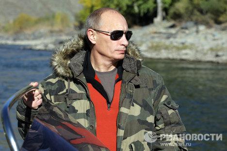Vladímir Putin en la reserva natural en el sur de Siberia