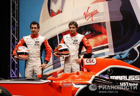 Los pilotos de Marussia Virgin Racing, el alemán Timo Glock y el belga Jérôme d'Ambrosio