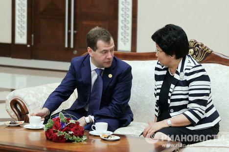 Дмитрий Медведев и Роза Отунбаева