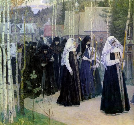 Репродукция картины М. В. Нестерова Великий постриг