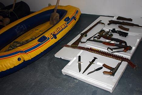 Armas incautadas a los traficantes de droga en la frontera tayiko-afgana.