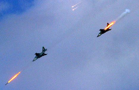 El avión Su-25 para combate y apoyo táctico.