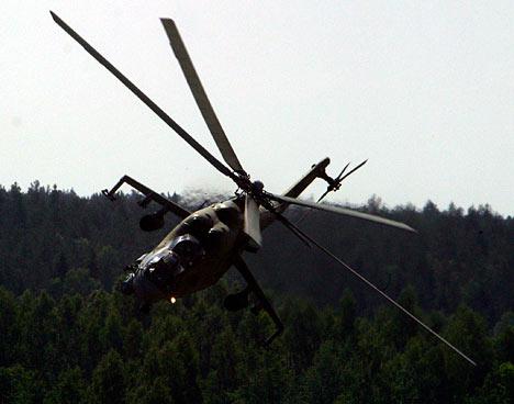 El helicóptero Mi-24, otro aparato ruso que ha participado en los ejercicios conjuntos.