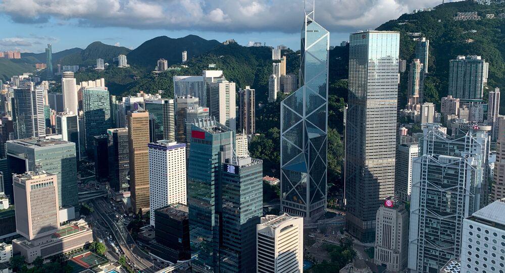 Vista general sobre los rascacielos de Hong Kong
