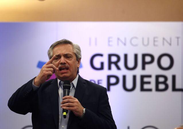 El presidente de Argentina, Alberto Fernández, durante un encuentro del Grupo de Puebla (archivo)