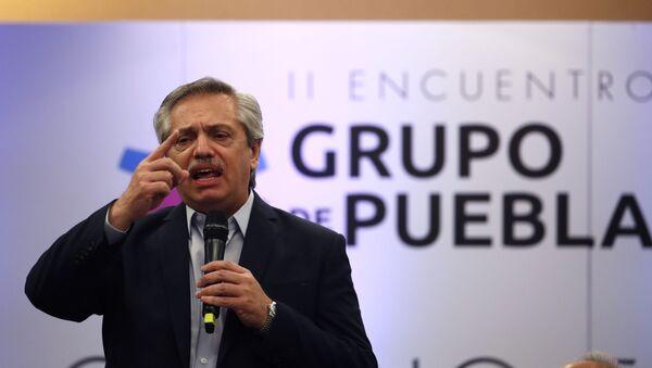El presidente de Argentina, Alberto Fernández, durante un encuentro del Grupo de Puebla (archivo) - Sputnik Mundo