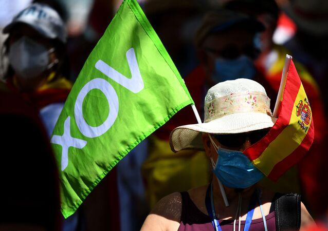 Protesta de partidarios de Vox en Madrid, 27 de junio de 2020