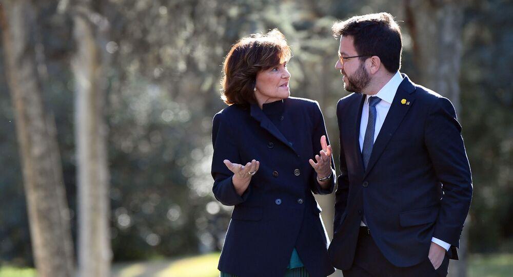 Vicepresidenta de España con el vicepresidente de la Generalitat de Cataluña en el Palacio de la Moncloa, 26 de febrero de 2020