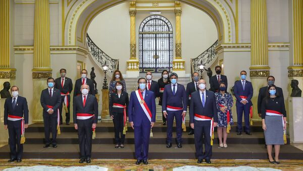 Martín Vizcarra, el presidente de Perú, junto a sus ministros - Sputnik Mundo