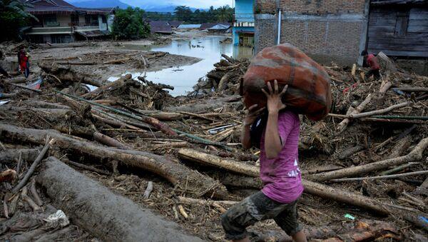 Consecuencias de inundaciones en la isla indonesia de Célebes - Sputnik Mundo