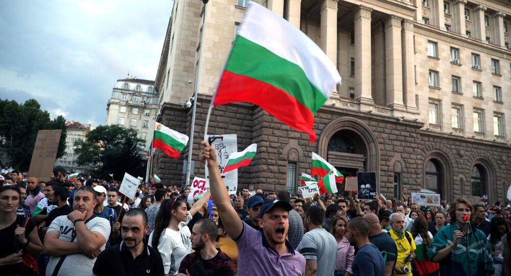 Protesta antigubernamental en Sofía, Bulgaria