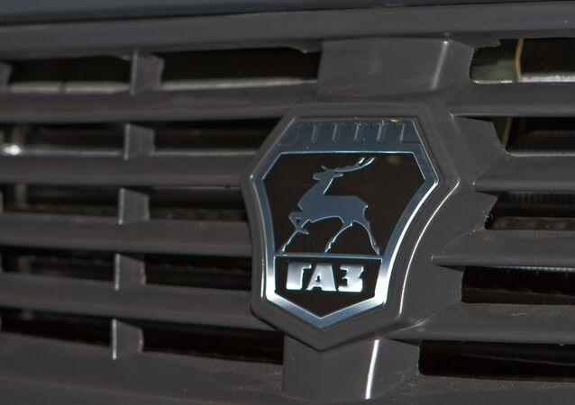 Un logo del grupo ruso GAZ