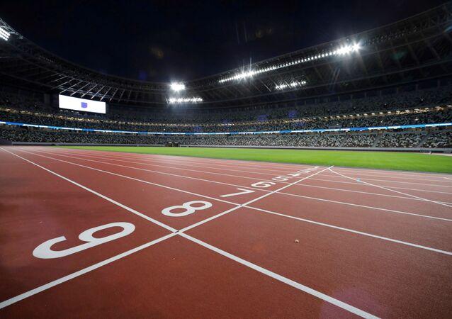 La pista para correr en el Estadio Olímpico de Tokio