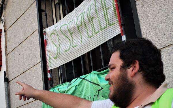 Protesta ante el desahucio de un piso en Vallecas, barrio del sur de Madrid - Sputnik Mundo