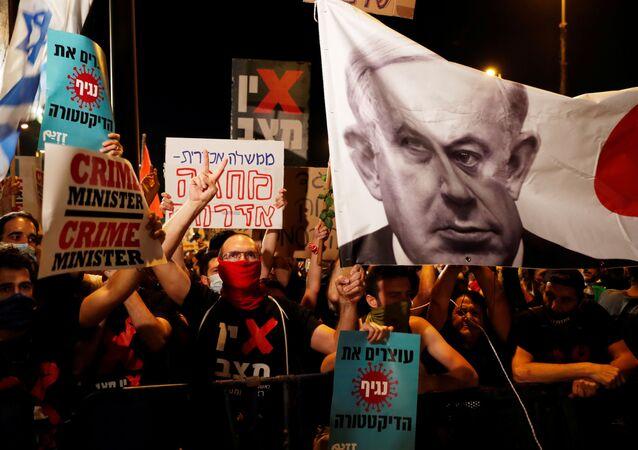 Protestas en Jerusalén contra el primer ministro de Israel Benjamín Netanyahu