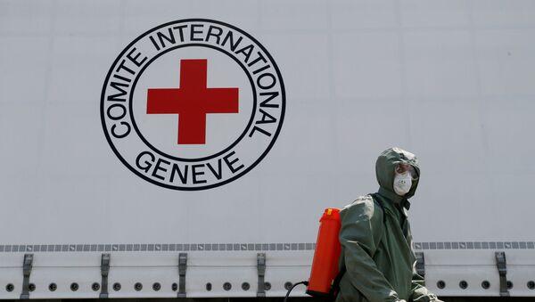 Un logo de la Cruz Roja y una persona en traje protector - Sputnik Mundo