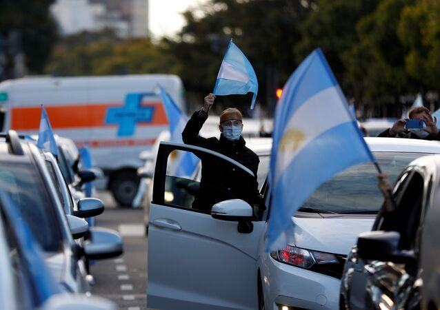 Protestas contra las medidas restrictivas por COVID-19 en Buenos Aires (archivo)