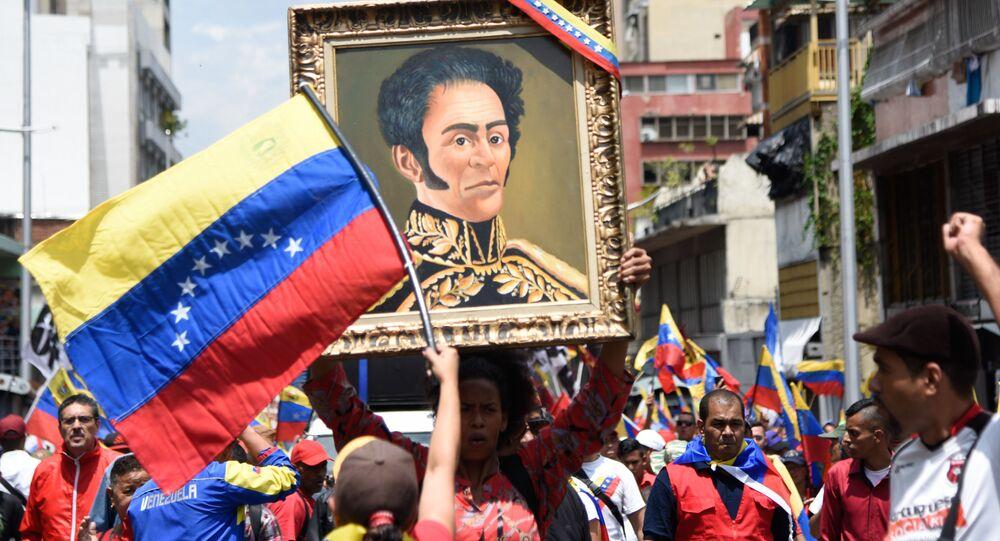 Un retrato de Simón Bolivar en una manifestación en Venezuela (archivo)