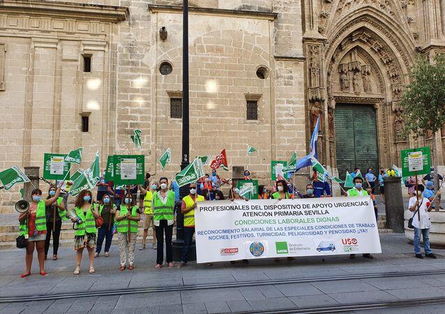 Enfermeros protestan en Sevilla por la suspensión de extra salarial el 21 de julio