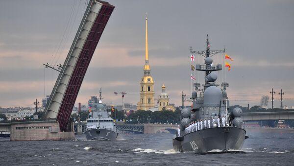 El ensayo del desfile naval dedicado al Día de la Armada de Rusia - Sputnik Mundo