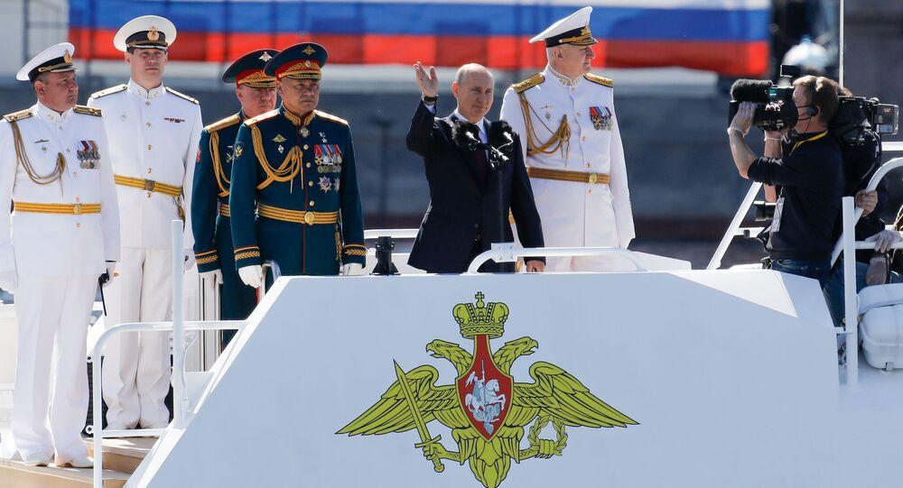 El presidente de Rusia, Vladímir Putin, durante la celebración del Día de la Armada de Rusia