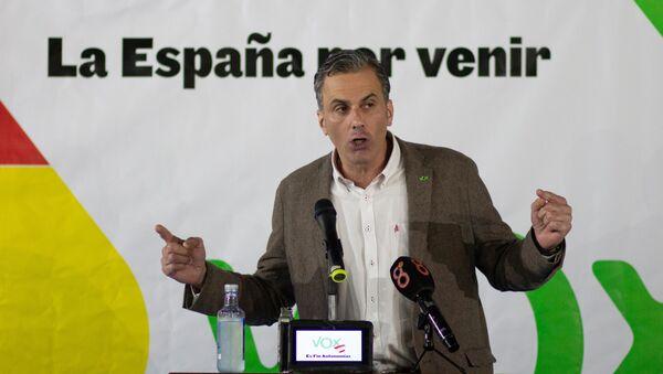 Javier Ortega Smith, secretario general de Vox, durante una conferencia de 2018 - Sputnik Mundo