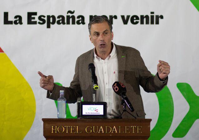 Javier Ortega Smith, secretario general de Vox, durante una conferencia de 2018