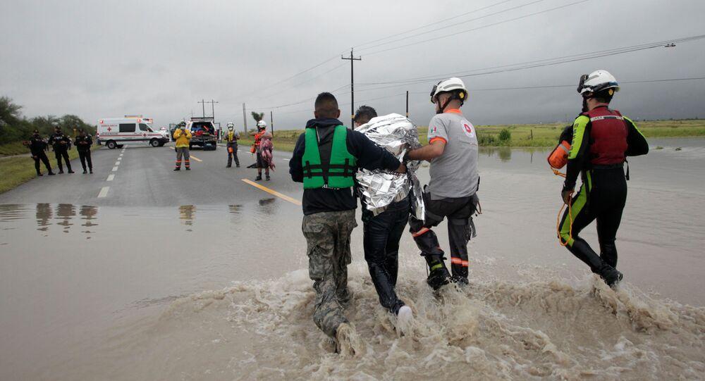 Consecuencias del ciclón Hanna, en El Carmen, a las afueras de Monterrey