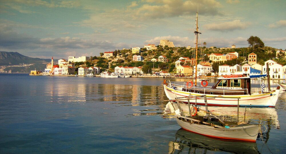 Isla de Kastelorizo en el mar Mediterráneo