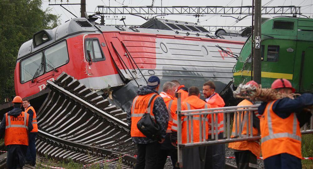 Colisión de locomotoras en San Petersburgo