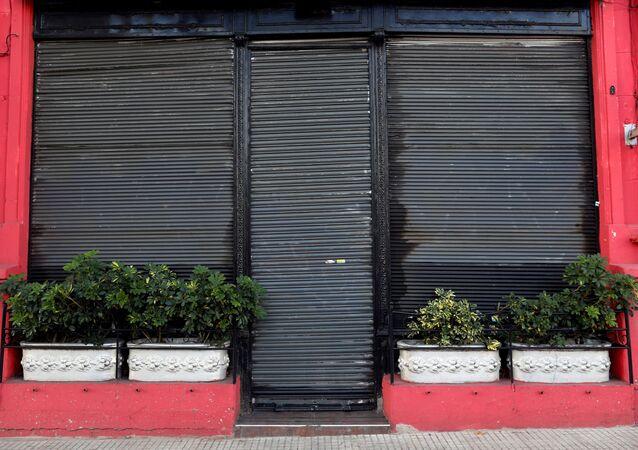 Una tienda cerrada en Buenos Aires, Argentina