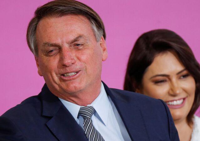 Jair Bolsonaro, presidente de Brasil, y Michelle Bolsonaro, su esposa