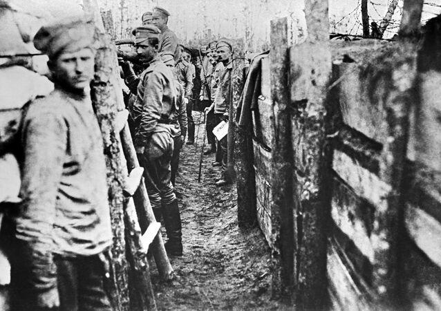 Soldados rusos durante la Primera Guerra Mundial