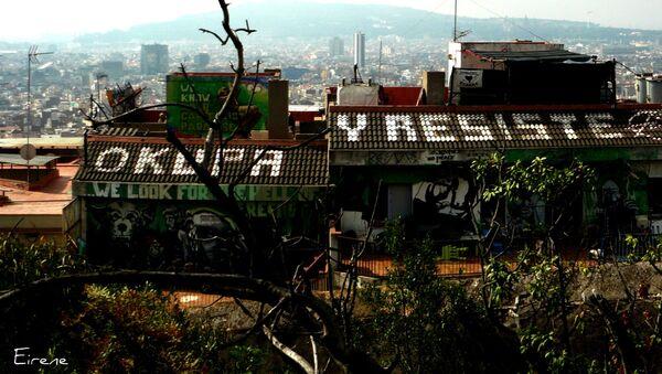 Una casa 'okupada' en Barcelona (referencial) - Sputnik Mundo