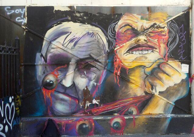 Mural realizado durante el estallido social en Chile