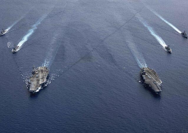 Dos portaviones estadounidenses en el mar del Sur de China en julio de 2020