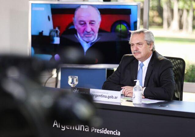 Presidente de Argentina, Alberto Fernández, durante anuncio de nueva etapa del programa de ATP