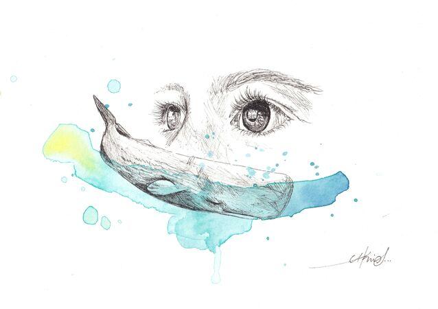 El niño y el cachalote, obra de la artista y bióloga Cristina Otero