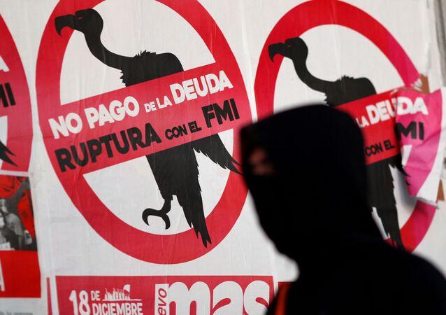 Carteles contra el FMI y el pago de la deuda en Argentina