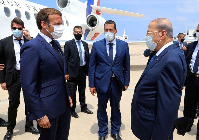 El presidente de Francia, Emmanuel Macron, y el presidente del Líbano, Michel Aoun