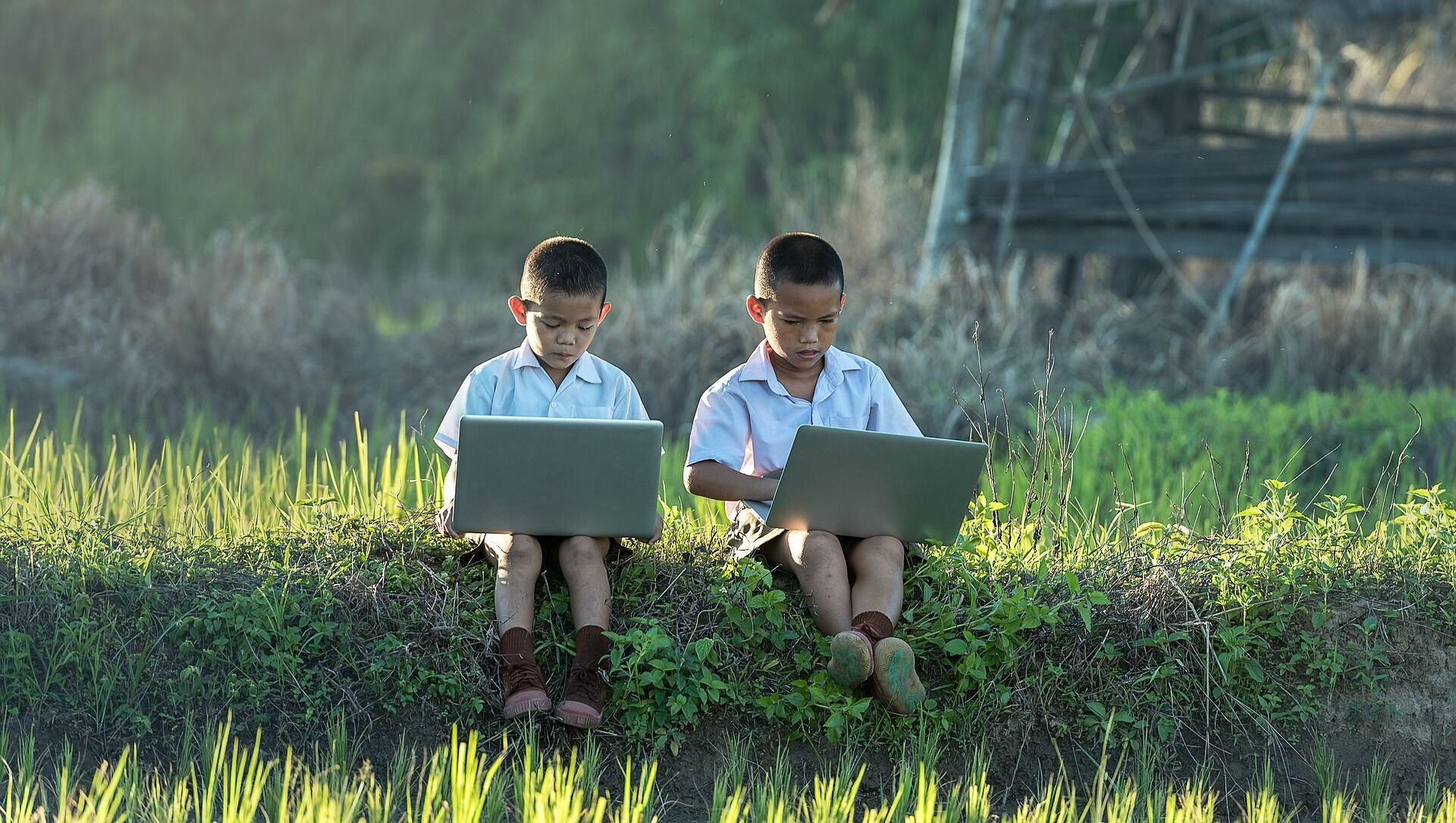 Dos niños usando ordenadores portátiles - Sputnik Mundo, 1920, 06.08.2020