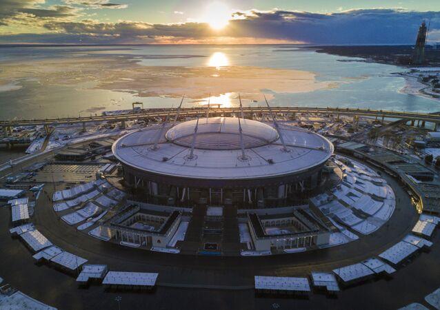 El estadio Gazprom Arena en San Petersburgo