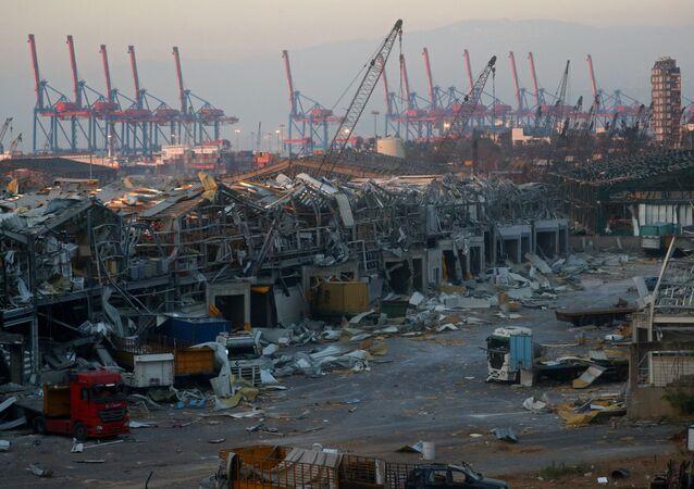 La zona portuaria de Beirut después de la explosión