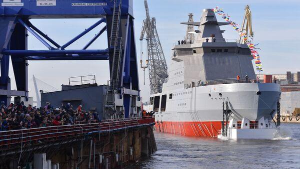 La botadura del buque armado ruso Ivan Papanin en San Petersburgo - Sputnik Mundo